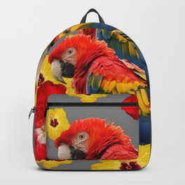 TROPICAL FLORAL MACAWS & RED YELLOW HIBISCUS FLOWERS Backpack