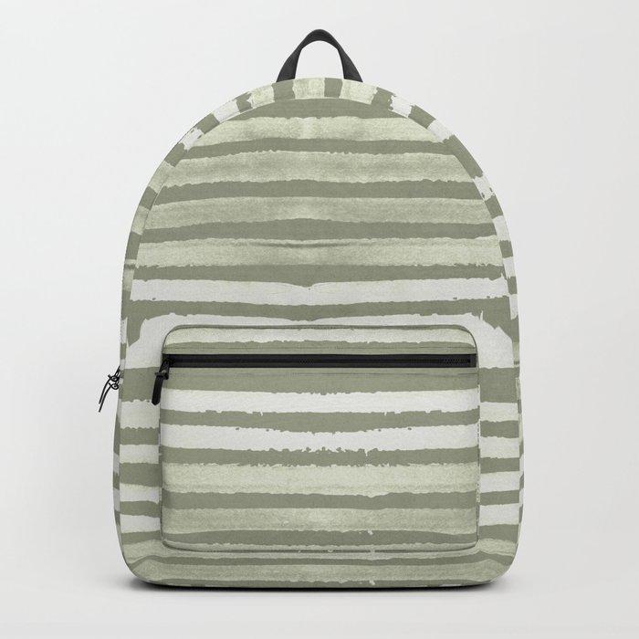 Simply Shibori Stripes Green Tea and Lunar Gray Backpack
