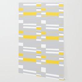 Mosaic Rectangles in Yellow Gray White #design #society6 #artprints Wallpaper