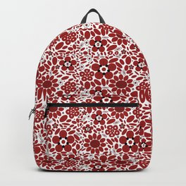 Graphic Flowers Red Backpack