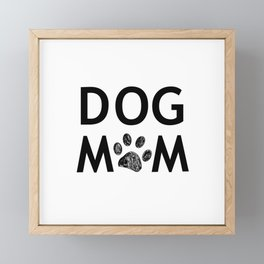 Black paw print with hearts. Dog mom text. Happy Mother's Day background Framed Mini Art Print
