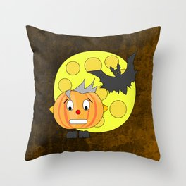Funny teeth clenched pumpkin head with bat and moon Throw Pillow