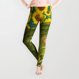 AVOCADO GREEN BOG FROG & YELLOW FLOWERS Leggings