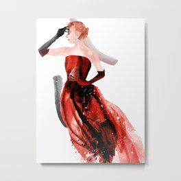 Red evening dresses, Fashion Beauty, Fashion Painting, Fashion IIlustration, Vogue Portrait, #17 Metal Print
