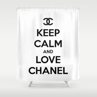 keep calm Shower Curtains featuring Keep Calm by I Love Decor