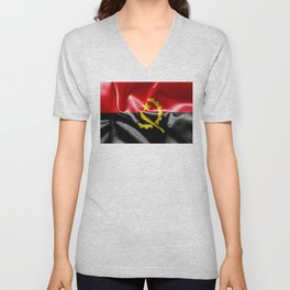 Angola Word With Flag Texture Unisex V-Neck