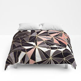 Stylish Art Deco Geometric Pattern - Black, Coral, Gold #abstract #pattern Comforters
