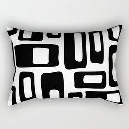 Retro Mid Century Modern Abstract Pattern 336 Black and White Rectangular Pillow