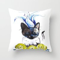 mew Throw Pillows featuring Lily Mew by Sarah