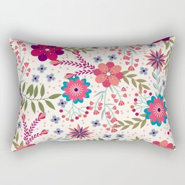 Colorful Floral Spring Pattern Rectangular Pillow