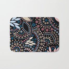 Abstract pattern with beads on black Bath Mat
