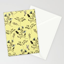Butter Yellow and Bluebells and Bluebirds Floral Pattern Flowers in Blue and Bark Brown Stationery Cards