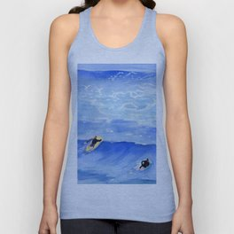 Getting ready to take this wave surf art Unisex Tank Top