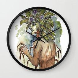 Mandrake Inktober Ink and Watercolor Illustration Wall Clock