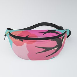 Spring swallows and clouds Fanny Pack