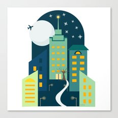 Night in the City Sticker Canvas Print