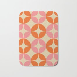 Mid Century Modern Pattern in Pink and Orange Bath Mat
