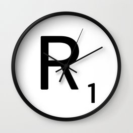 Letter R - Custom Scrabble Letter Tile Art - Scrabble R Initial Wall Clock