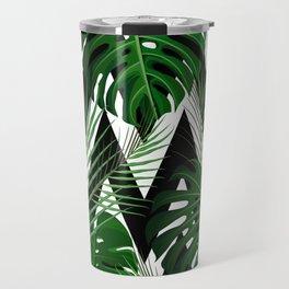Geometrical green black white tropical monster leaves Travel Mug