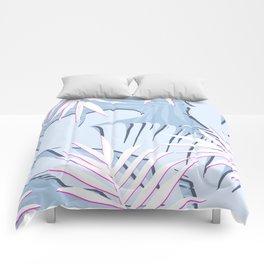 Elegant Tropical Blue Banana Leaves Design Comforters