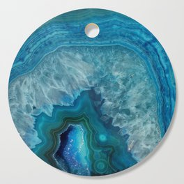 Blue agate marble faux druse crystal quartz gem gemstone geode mineral stone photograph hipster Cutting Board