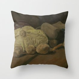 Vincent van Gogh - Still Life with Cabbage and Clogs Throw Pillow