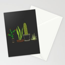 Cactus Trio (Black) Stationery Cards