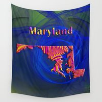 maryland Wall Tapestries featuring Maryland Map by Roger Wedegis