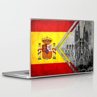 spain Laptop & iPad Skins featuring Flags - Spain by Ale Ibanez