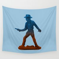 cowboy Wall Tapestries featuring Toy Cowboy by SkullsNThings