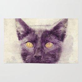 Black kitty art Rug