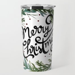 Merry Christmas Wreath Travel Mug