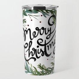Merry Christmas Wreath Travel Mug