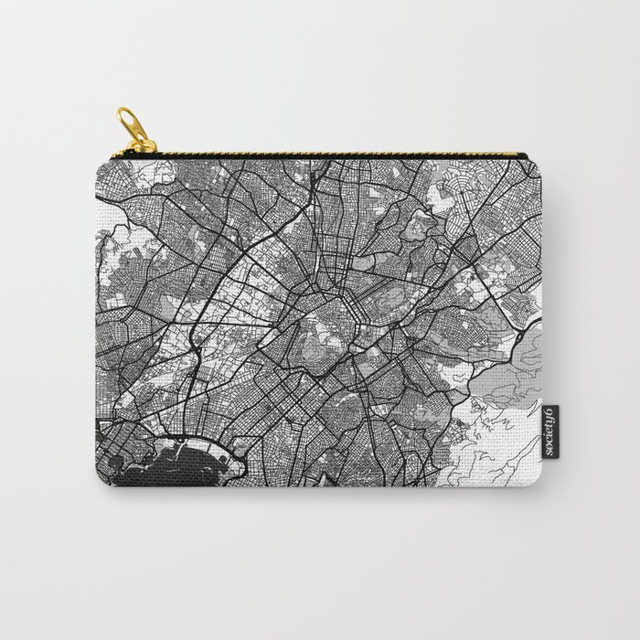 Athens Map Gray Carry-All Pouch