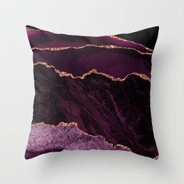 Fuchsia Geode and Gold Glitter 02 Throw Pillow