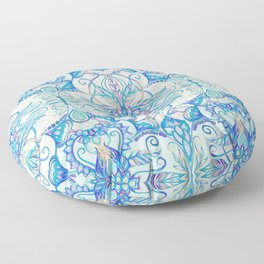 Teal Blue, Pearl & Pink Floral Pattern Floor Pillow