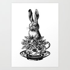 Rabbit in a Teacup | Black and White Art Print