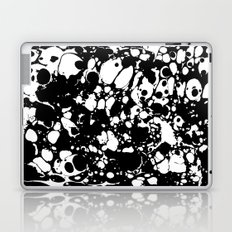 Black and white contrast ink spilled paint mess Laptop & iPad Skin