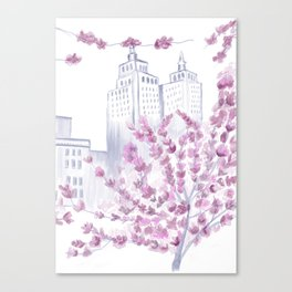 Cherry Blossom Tree Spring in New York City NYC Gathering of Lines Canvas Print