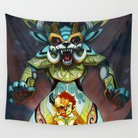 beast Wall Tapestries featuring Beast Warrior by Erick Hinojosa