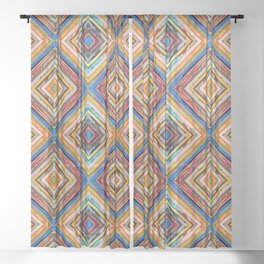 Multi Colored Diagonal Squares Diamonds Sheer Curtain