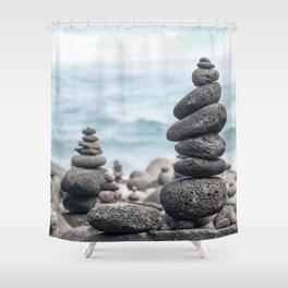 Chorten Rocks on Beach Shower Curtain