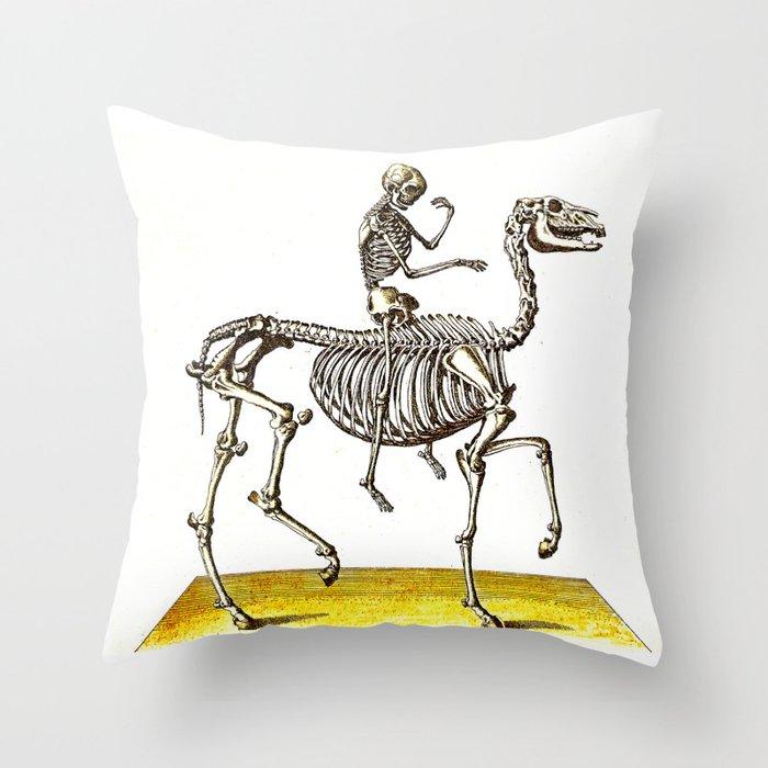 Horse Skeleton Rider Throw Pillow By Ouijawedge Society6