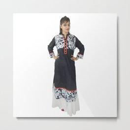 Women's Designer Black Kurti Metal Print