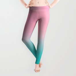 Artistic blush pink tropical turquoise watercolor ombre Leggings