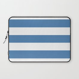 Cyan azure - solid color - white stripes pattern Laptop Sleeve
