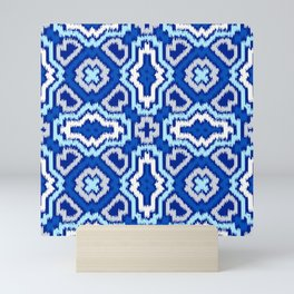 IKAT pattern, indigo blue and white, 06 Mini Art Print