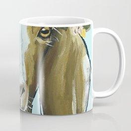 Goat Art, Flower Crown Animal, Cute Goat Painting Coffee Mug