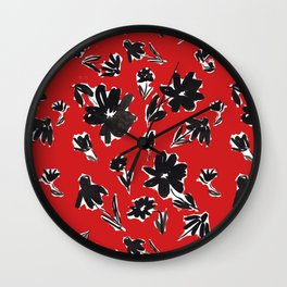 Red and Black Mod Floral Pattern Sophisticated Cheerful Florals Contemporary Royal English American Garden Wall Clock