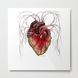Butterfly Heart Red Metal Print